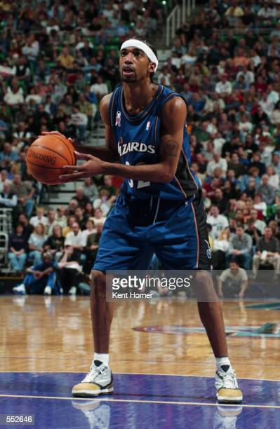 Guard Richard Hamilton of the Washington Wizards shoots a free throw during the NBA game against the Utah Jazz at the Delta Center in Salt Lake City...