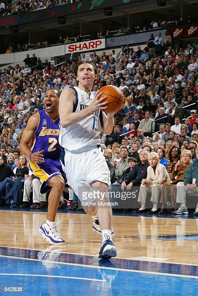 Guard Steve Nash of the Dallas Mavericks goes to the hoop during the NBA game against the Los Angeles Lakers at American Airlines Center in Dallas...