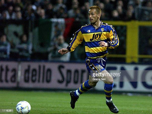 Hidetoshi Nakata of Parma in action during the Serie A match between Parma and Juventus played at the Ennio Tardini Stadium Parma DIGITAL IMAGE...