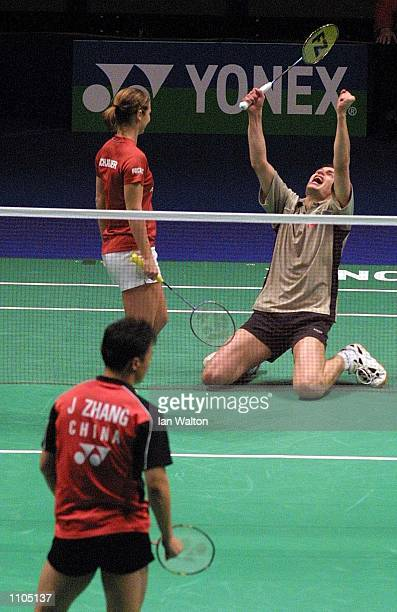 Jens Eriksen and Mette Schjoldager of Denmark celebrates winning their semifinal game against Zhang Jun and Ling Gao of China during the Yonex All...