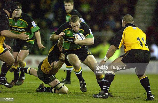 Johan Ackermann of Northampton powers forward during the Powergen Cup semi final match between Northampton Saints and Newcastle Falcons at Franklins...