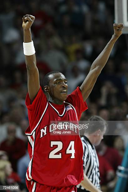 Julius Hodge of North Carolina State celebrates during the ACC Tournament game against Maryland at the Charlotte Coliseum in Charlotte North Carolina...