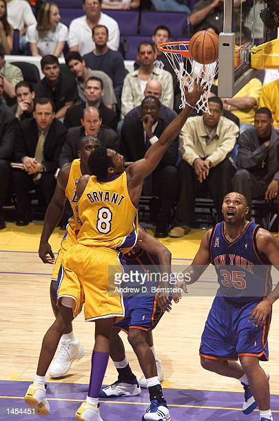 Kobe Bryant of the Los Angeles Lakers gets to the hoop against the New York Knicks during the second half of action at Staples Center in Los Angeles...