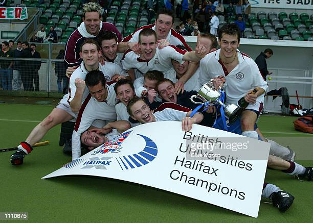 Loughborough University celebrate winning the men's Championship Final between Loughborough and Exeter during the British Universities Halifax Hockey...