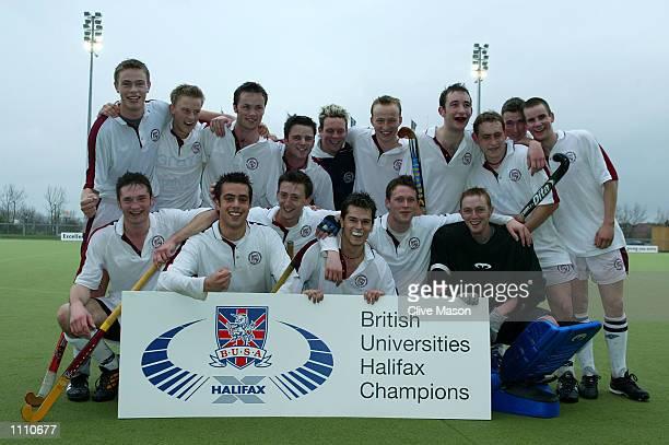 Loughborough University celebrate winning the men's Championship Final between Loughborough and Exeter during the British Universities Halifax Hockey...