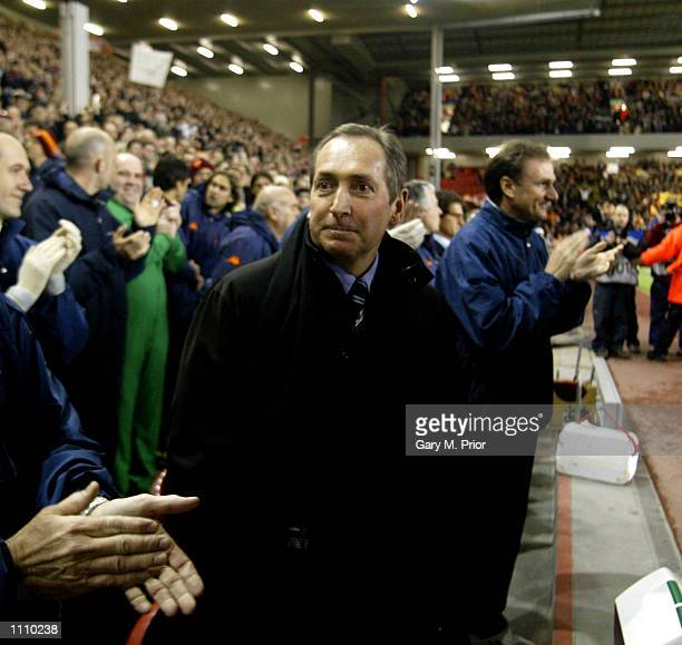 Manager Gerard Houllier of Liverpool makes his return to Anfield during the Liverpool v AS Roma UEFA Champions League, Group B match at Anfield,...