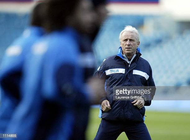 Manager Giovanni Trappatoni of Italy during training ahead of the International Friendly against England at Elland Road on Wednesday DIGITAL IMAGE...