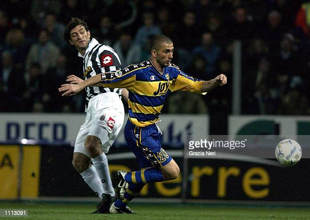 Marco Di Vaio of Parma and Ciro Ferrara of Juventus in action during the Serie A 28th Round League match played between Parma and Juventus at the...