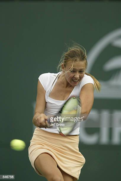 Maria Sharapova in action against Monica Seles at the Pacific Life Open in Indian Wells California Seles defeats Sharapova 60 63 DIGITAL IMAGE...