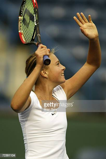 Maria Sharapova of Russia shows her excitement after defeating Brie Rippner of the USA during the Pacific Life Open at the Indian Wells Tennis Garden...