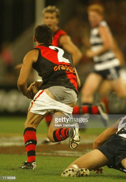 Mark Mercuri for Essendon loses his shorts during the Round 1 AFL match between the Geelong Cats and the Essendon Bombers played at the MCG Melbourne...