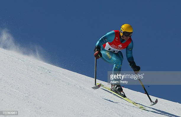 Michael Milton of Australia on his way to the Gold medal during the LW2 class in the mens downhill during the Salt Lake City Winter Paralympic Games...
