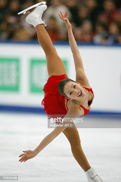 Michele Kwan of the USA competes in the ladies free program during the World Figure Skating Championships in Nagano Japan She won the silver medal...