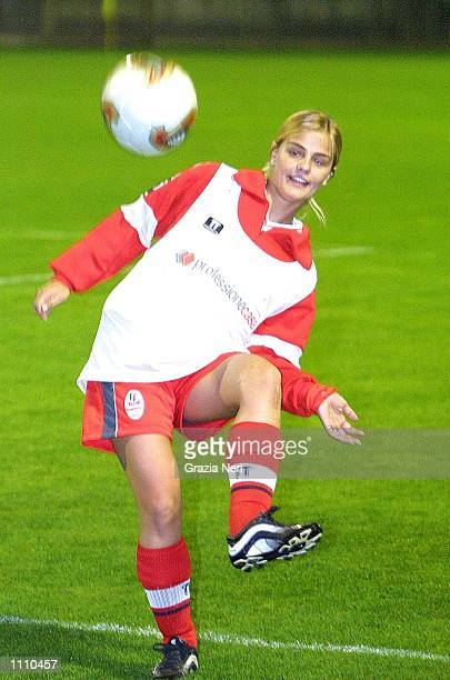 Milene Dominguez, wife of Ronaldo, warms up before the friendly match between Monza and Region 4, a representative side from the West Coast of...