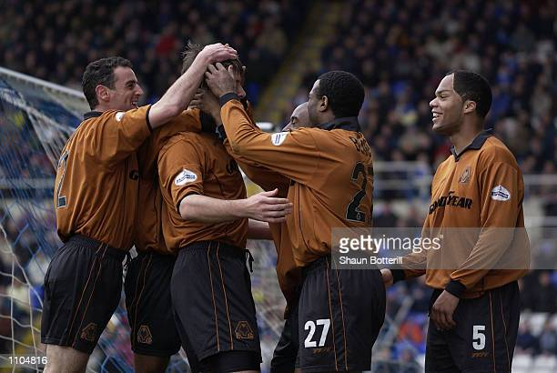 Paul Butler of Wolverhampton Wanderers celebrates scoring the first goal during the Nationwide Division One match between Birmingham City and...