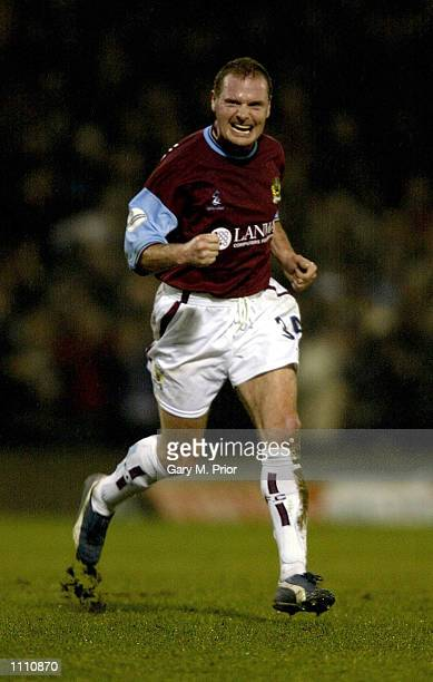 Paul Gascoigne of Burnley celebrates a goal during the Nationwide League Division One match between Burnley and Bradford City at Turf Moor, Burnley,...