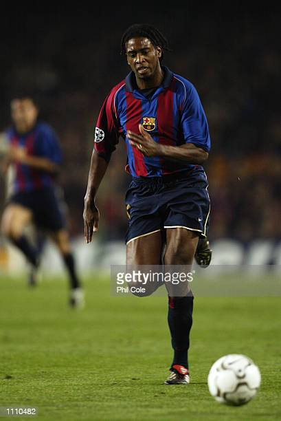 Philippe Christanval of Barcelona charges forward during the UEFA Champions League Group B match between Barcelona and Liverpool played at the Nou...