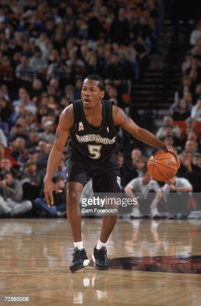 Point guard William Avery of the Minnesota Timberwolves dribbles the ball during the NBA game against the Portland Trail Blazers at the Rose Garden...