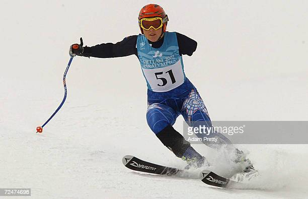 Rachael Battersby of New Zealand on her way to gold in the women's LW6/8 SuperG during the Salt Lake City Winter Paralympic Games at the Snowbasin...