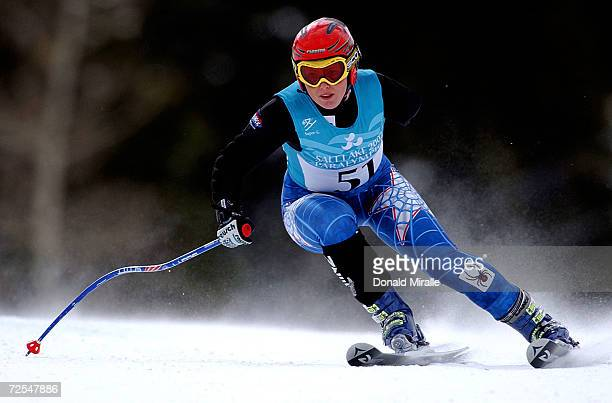 Rachel Battersby of New Zealand skis to a gold medal in the Women's SuperG class LW6/8 during the Salt Lake City Winter Paralympic Games at the...