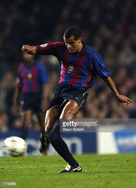 Rivaldo of Barcelona passes the ball during the UEFA Champions League Second Stage Group B match between Barcelona and Liverpool played at the Nou...