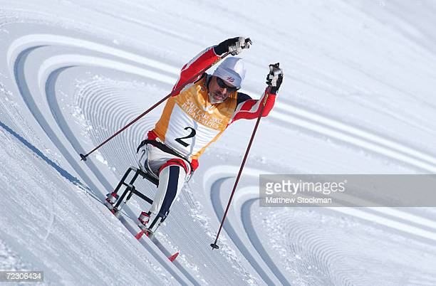 Scott McNeice#2 competes in the 15K sitski event during the Salt Lake 2002 Paralympics at Soldier Hollow in Heber Utah DIGITAL IMAGE Mandatory Credit...