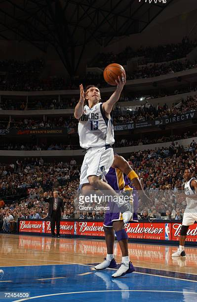 Steve Nash of the Dallas Mavericks goes to the basket during the game against the Los Angeles Lakers at American Airlines Center in Dallas Texas The...