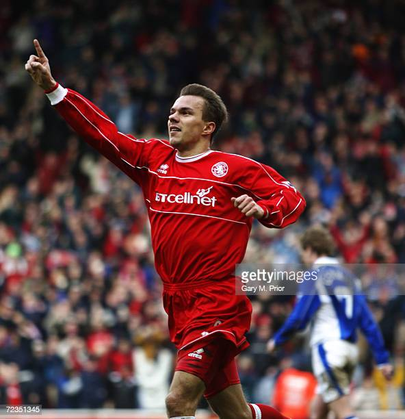 Szilard Nemeth of Middlesbrough celebrates scoring the second goal of the match during the AXA sponsored FA Cup quarterfinals match between...