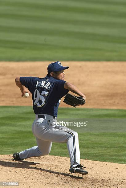 Takahito Nomura of the Milwaukee Brewers during the Spring Training game against the Oakland A's in Phoenix Arizona The Brewers won 31 DIGITAL IMAGE...