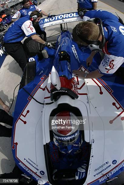 Team Motorola mechanics at work on Michael Andretti's Team Motorola Honda Reynard during practice forduring the Tecate Telmex Grand Prix of...