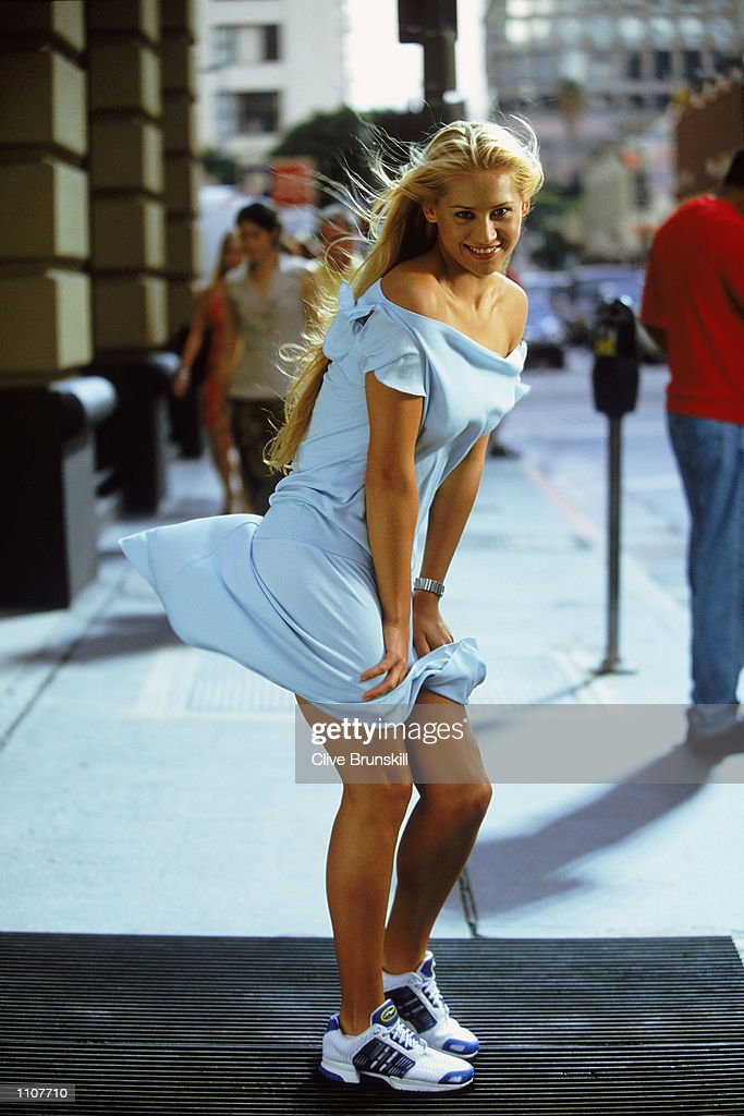 Tennis star Anna Kournikova of Russia recreates a legendary Marilyn Monroe pose during the filming of the adidas climacool commercial on location in Los Angeles. Mandatory Credit: CLIVE BRUNSKILL/Getty Images