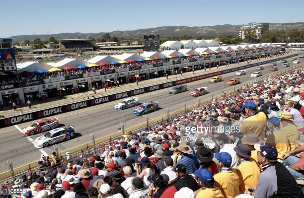 The field of V8 Supercars line up on the grid as they wait for the green light prior to race 2 of the V8 Clipsal 500 which is round 1 of the V8...