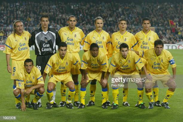 The Las Palmas team line up before the Primera Liga match between Barcelona and Las Palmas played at the Camp Nou Stadium Barcelona DIGITAL IMAGE...