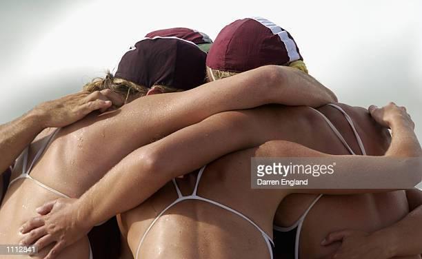 The Tallebudgera Surf Life Saving women's Boat Crew celebrate winning the women's Surf Boat Final at the 2002 Australian Surf Life Saving...