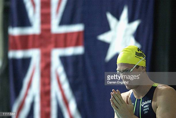 Todd Pearson of Australia in a pensive mood before the start of the men's 50 metre Freestyle Semifinal at the 2002 Australian Swimming Championships...
