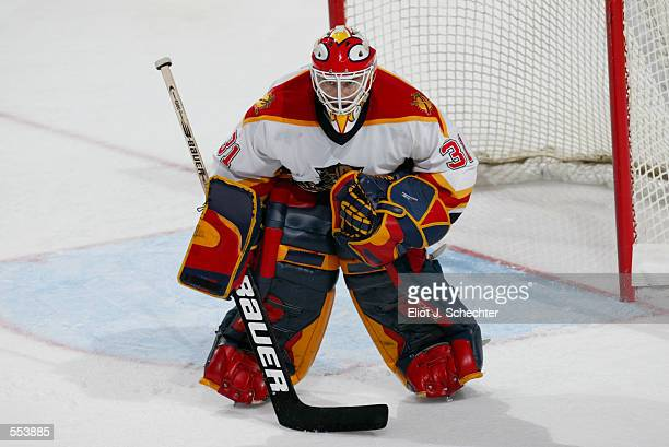 Wade Flaherty of the Florida Panthers defends against the New York Rangers during the game at National Car Rental Center in Sunrise Florida The...
