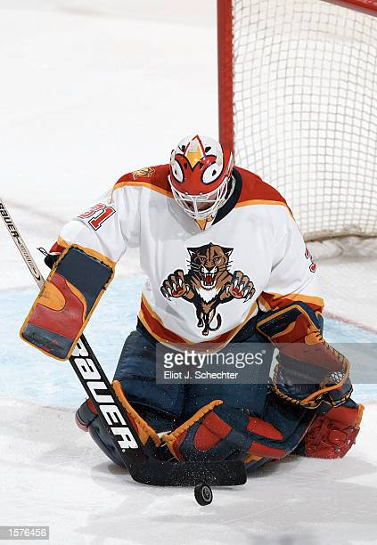 Wade Flaherty of the Florida Panthers stops a shot by the New York Rangers in the first period of NHL action at the National Car Rental Center in...