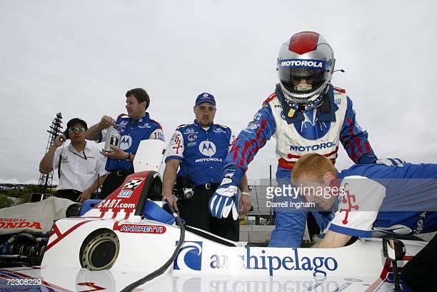 Michael Andretti repares to climb aboard his Team Motorola Honda Reynard for the Tecate Telmex Grand Prix of Monterrey, round 1 of the CART FedEx...