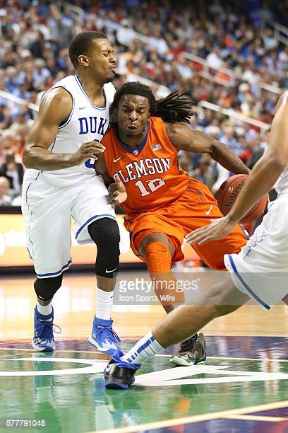 Clemson Tigers guard Rod Hall and Duke Blue Devils forward Rodney Hood during the ACC Mens Basketball Tournament Championship at the Greensboro...