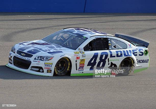 NASCAR Jimmie Johnson on the track during qualifying for the Sprint Cup Series Auto Club 400 at the Auto Club Speedway in Fontana CA