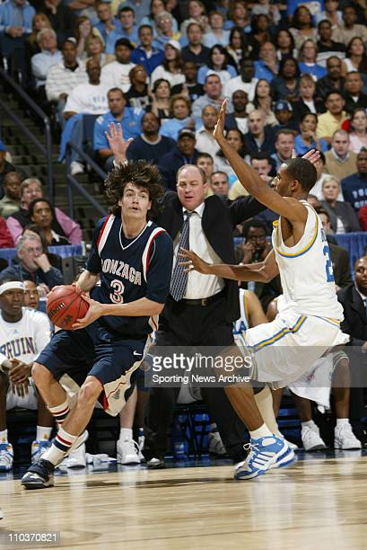 Mar 23 2006 Oakland CA USA NCAA Basketball The Gonzaga Bulldogs Adam Morrison against the UCLA Bruins Cedric Bozeman and head coach Ben Howland...