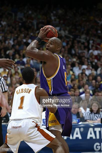 Mar 25, 2006; Atlanta, GA, USA; NCAA Basketball: LSU Glen Davis against Texas Daniel Gibson during Louisiana State University against the University...