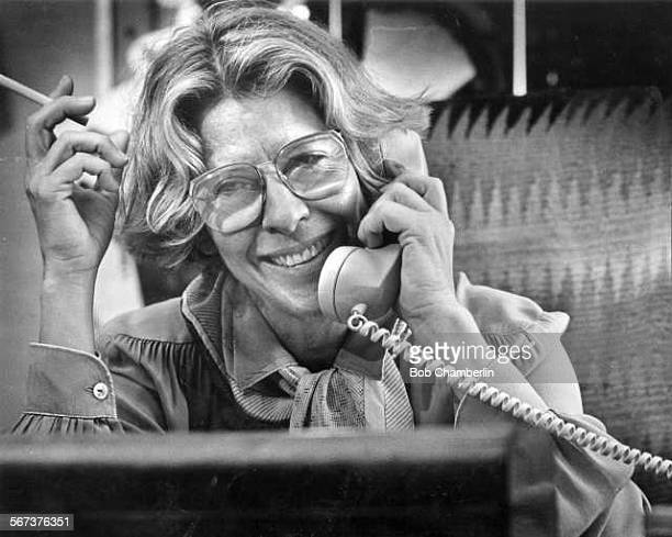 Polly Platt on the phone at her office at Paramount Pictures For obit
