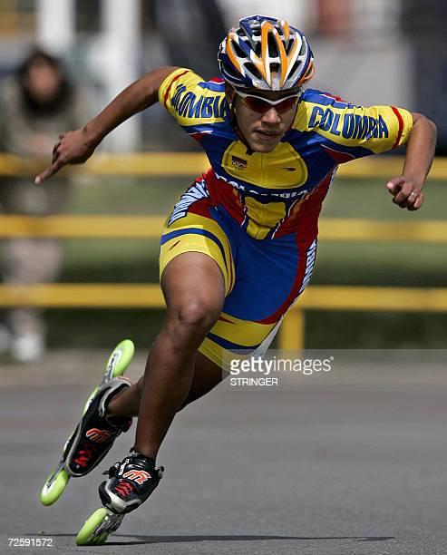 La colombiana Jennifer Caicedo participa de la competencia de patin ruta 200 m contra reloj en la que se adjudico la medalla de Oro durante los VIII...