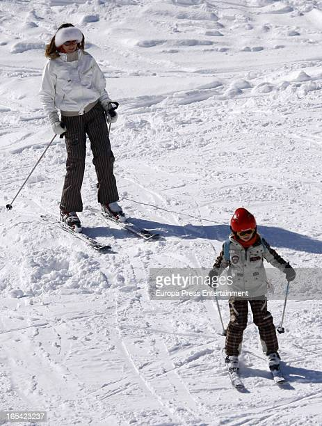 Mar Flores and her son are seen on March 2, 2013 in Baqueira Beret, Spain.