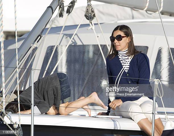 Mar Flores and her son are seen sighting on April 27 2011 in Ibiza Spain