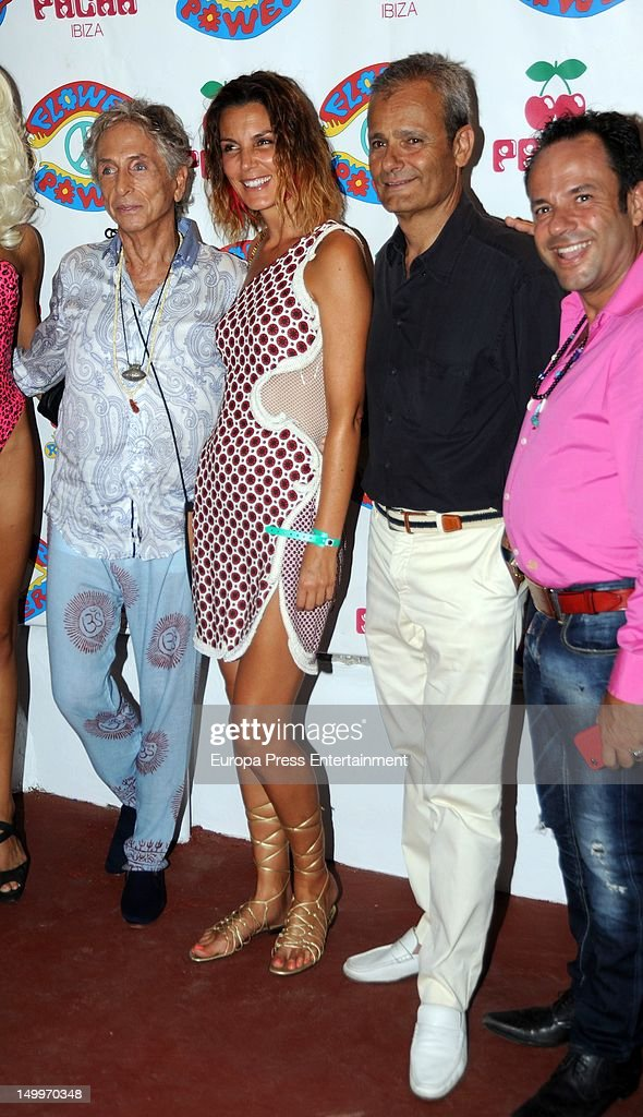 Mar Flores (C), Javier MErino (2R) and Carlos Martorell (2L) attend 'Flower Power' Party 2012 at Pacha Club on August 7, 2012 in Ibiza, Spain.