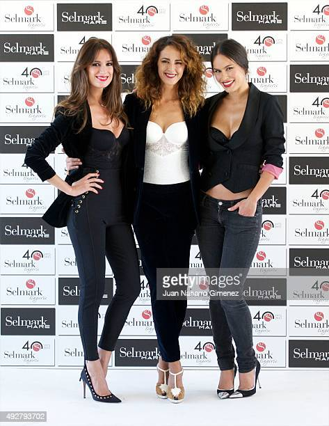 Mar Saura Monica Estarreado and Mireia Canalda attend Selmark fashion show at Circulo de las Bellas Artes on October 15 2015 in Madrid Spain