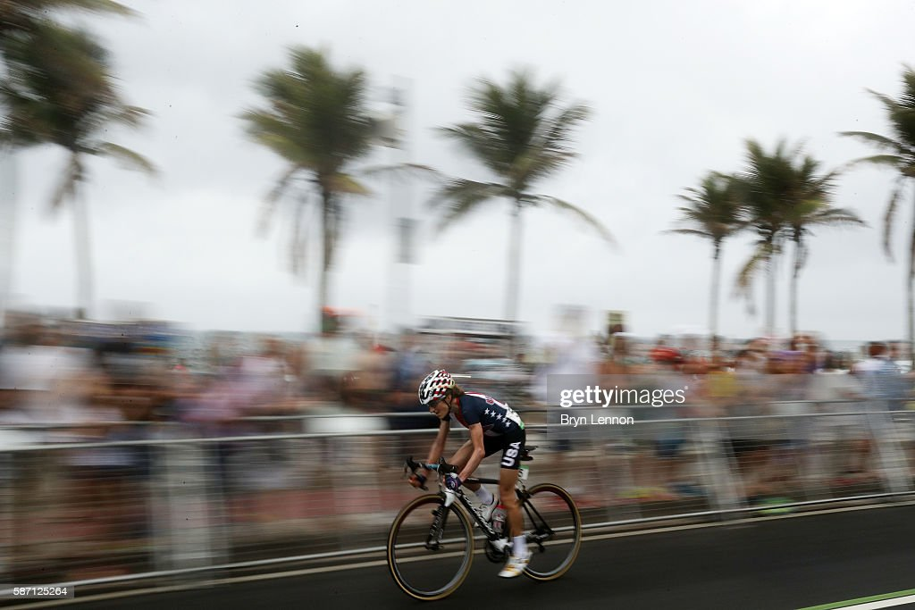 Mara Abbott of the United States rides during the Women's Road Race on Day 2 of the Rio 2016 Olympic Games at Fort Copacabana on August 7, 2016 in Rio de Janeiro, Brazil.