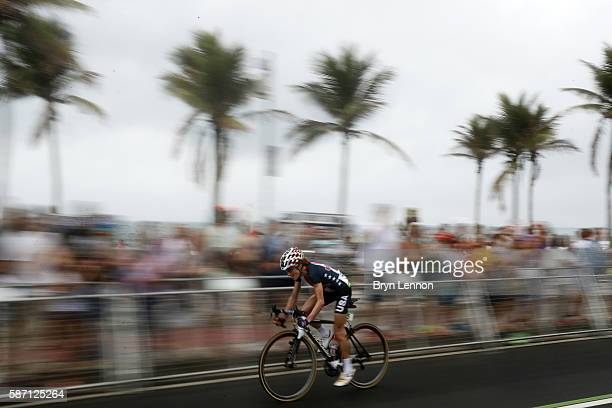 Mara Abbott of the United States rides during the Women's Road Race on Day 2 of the Rio 2016 Olympic Games at Fort Copacabana on August 7 2016 in Rio...